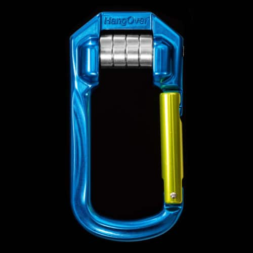 Highline and pulley carabiner for tensioning slacklines